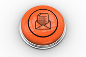 Open envelope graphic on orange button — 图库照片