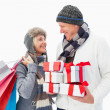 Mature couple in winter clothes holding gifts — Stock Photo #50045959