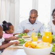 Happy family enjoying a healthy meal together — Stock Photo #50046609