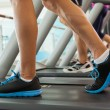 Row of people working out on treadmills — Stock Photo