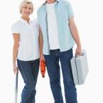 Happy older couple holding diy tools — Stock Photo #50047637