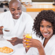 Happy couple having breakfast together at table — Stock Photo #50048491