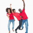 Football fans in red cheering together — Stock Photo