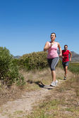 Active couple jogging on country terrain — 图库照片