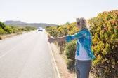 Blonde hitch hiking on rural road — Стоковое фото
