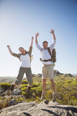 Hiking couple jumping and cheering on rocky terrain — Stock Photo