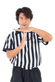 Stern referee showing time out sign — Foto de Stock