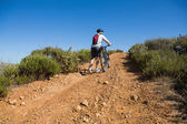 Fit cyclist pushing bike uphill on country terrain — Stock fotografie