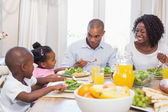 Happy family enjoying a healthy meal together — Foto de Stock