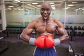 Muscular boxer flexing muscles in health club — Stock Photo