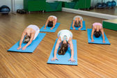 Yoga class in childs pose in fitness studio — Stock Photo