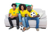 Brazilian football fans in yellow sitting on the sofa — Stockfoto