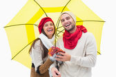 Young couple in warm clothes holding umbrella — Stockfoto