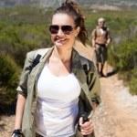 Hiking couple walking on mountain trail — Stock Photo #50050017