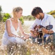 Man serenading girlfriend with guitar — Stock Photo #50050243