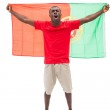 Excited portugal football fan in red cheering — Stock Photo #50050505