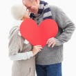Happy mature couple in winter clothes holding red heart — Stock Photo #50056901