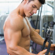 Shirtless muscular man using triceps pull down in gym — Stock Photo #50057063