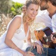 Man serenading girlfriend with guitar — Stock Photo #50057265