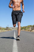 Shirtless man jogging on open road  — Stock Photo