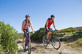 Active couple cycling in the countryside — Stok fotoğraf