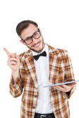Geeky hipster holding a tablet pc — Stock Photo