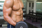 Mid section of shirtless muscular man exercising with dumbbell — Stock Photo