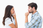 Malestar joven pareja no hablar — Foto de Stock