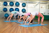 Yoga class in crab pose in fitness studio — 图库照片