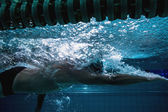 Fit swimmer training on his own — Stockfoto