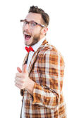 Geeky hipster pointing at camera — Stock Photo
