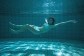 Pretty swimmer looking at camera underwater in bikini — Stock Photo