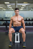 Muscular man exercising with dumbbells in gym — Foto de Stock