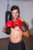 Shirtless muscular boxer with punching bag in gym — Stock Photo