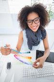 Pretty designer working at her desk — Stock Photo