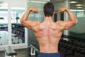 Rear view of a muscular man flexing muscles — Stock fotografie