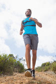 Man jogging down mountain trail — Stock fotografie