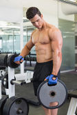 Muscular man lifting weight in gym — Stock Photo