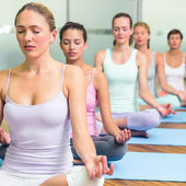 Yoga class in lotus pose in fitness studio — 图库照片