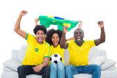 Begeistert fußball-fans in gelb mit brasilien-flagge — Stockfoto