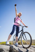 Cyclist on rocky terrain — Stock Photo