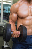 Mid section of shirtless young muscular man exercising with dumb — Stock Photo