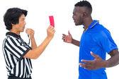 Referee sending off football player — Stock Photo