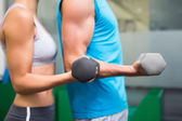 Fit couple lifting dumbbells together — Stock Photo