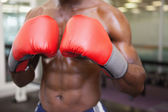 Mid section of shirtless muscular boxer — Stock Photo