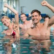 Fitness class doing aqua aerobics — Stock Photo #50062287