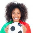 Pretty football fan with portugal flag holding ball — Stock Photo #50062413