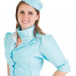 Portret van een mooie stewardess gekleed in blauwe uniform — Stockfoto #50063151