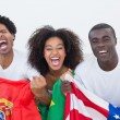 Football fans sitting on couch with flags — Stock Photo #50063413