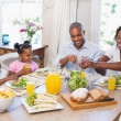 Happy family enjoying a healthy meal together — Stock Photo #50064211